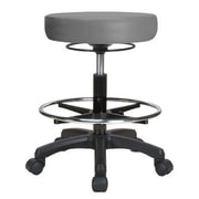 Perch Chairs & Stools Height Adjustable Stool w/ Foot Ring; Grey Vinyl