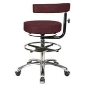 Perch Chairs & Stools Height Adjustable Dental Stool w/ Procedure Arm and Foot Ring; Burgundy Fabric