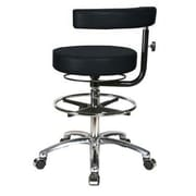 Perch Chairs & Stools Height Adjustable Dental Stool w/ Procedure Arm and Foot Ring; Black Vinyl