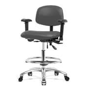 Perch Chairs & Stools 12'' Multi-Task Office Chair with Adjustable Armrests and Foot Ring; Cinder