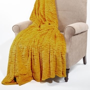 BOON Throw & Blanket Air Brushed Colleen Faux Fur Throw Blanket; Lemon Curry Yellow
