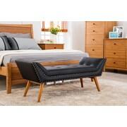 Porthos Home Tyler Upholstered Bedroom Bench; Black