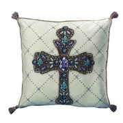 Filos Design Holiday Elegance Crystal Colorful Cross Throw Pillow