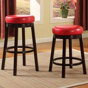 Roundhill Furniture Swivel Bar Stool; Red