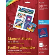 "Avery® Magnetic Printable 8-1/2"" x 11"" Sheets, White, 5/Pack (03270)"