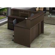 OfisLite Reception Desk with Hutch; Espresso