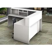 OfisLite Reception Desk w/ Hutch; White