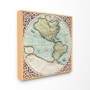 Stupell Industries Globe with Frame Graphic Art on Wrapped Canvas; 24'' H x 24'' W x 1.5'' D