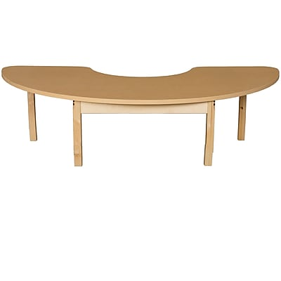 Wood Designs HPL Tables 24''D x 76''W Half Circle Table 14''H Hardwood Legs (HPL2476HCRC14)