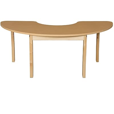 Wood Designs HPL Tables 24''D x 76''W Half Circle Table 29''H Hardwood Legs (HPL2476HCRC29)