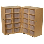 Wood Designs 38''H x 48''W x 15''D Mobile Folding Vertical Storage with Translucent Trays (16201)