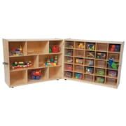 Wood Designs 38''H x 96''W x 15''D Mobile Half & Half 25 Folding Storage with Translucent Trays (23601)