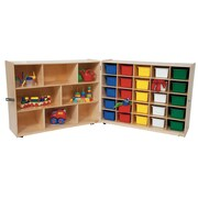 Wood Designs 38''H x 96''W x 15''D Mobile Half & Half 25 Folding Storage with Assorted Trays (23603)