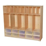 Wood Designs 49''H x 58''W x 15''D Five Section Locker with Cubbies - Translucent Trays (990316CT)