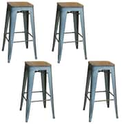 "AmeriHome Loft  30"" Metal Bar Stool with Wood Seat Black 4 Piece Set (300332)"