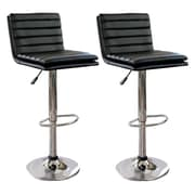 "AmeriHome 32"" Modern Ripple Back Bar Stool Black 2 Piece Set (300335)"