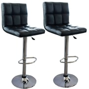 "AmeriHome 32"" Modern Checker Back Bar Stool Black 2 Piece Set (300337)"