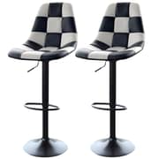 "AmeriHome 33"" Checkered Racing Bar Chairs White/Black 2 Piece Set (300343)"