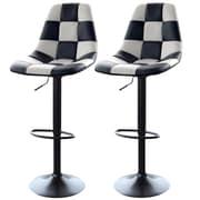 "AmeriHome 33"" Checkered Racing Bar Chairs White/Black 2 Piece Set (300343)"