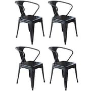 AmeriHome Loft Metal/Wood Dining Chair Glossy Black Set of 4 (300361)
