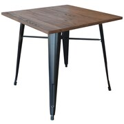 AmeriHome Loft Black Metal Dining Table with Wood Top (300414)