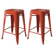 "AmeriHome Loft  24"" Metal Bar Stool Orange 2 Piece Set (BS24ORNG)"