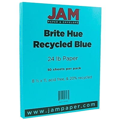 JAM Paper 8 1 2 x 11 Paper Blue 24lb Brite Hue Recycled 50 Pack 101592A