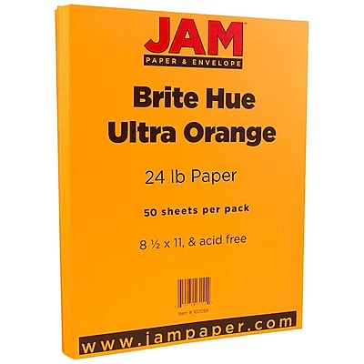 JAM Paper 8 1 2 x 11 Paper Ultra Orange 24lb Brite Hue 50 Pack 102558A