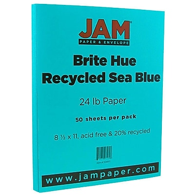 JAM Paper 8 1 2 x 11 Paper Sea Blue 24lb Brite Hue Recycled 50 Pack 102657A