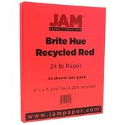 "JAM Paper® 8 1/2"" x 11"" Paper, Red 24lb Brite Hue Recycled, 50/Pack (151023A)"
