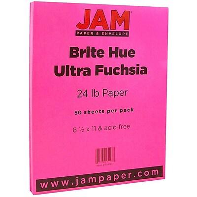 JAM Paper 8 1 2 x 11 Paper Ultra Fuchsia Pink 24lb Brite Hue 50 Pack 184931A