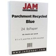 """JAM Paper® 8 1/2"""" x 11"""" Parchment Paper, Blue Parchment, 24lb Recycled, 50/Pack (96600200A)"""