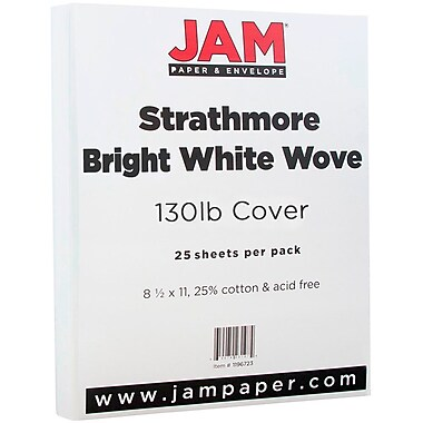 JAM Paper® Extra Heavy Stiff Cardstock, 8.5 x 11, 130lb Strathmore Bright White Wove, 25/pack (1196723)