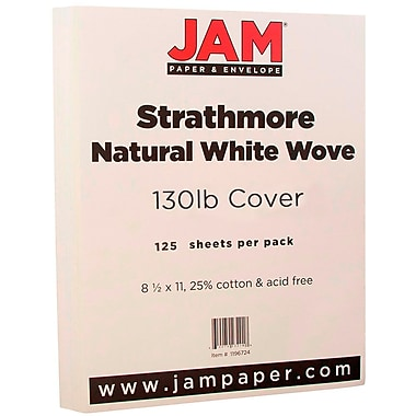 JAM Paper® Extra Heavy Stiff Strathmore Cardstock, 8.5 x 11, 130lb Strathmore Natural White Wove, 125/ream (1196724B)