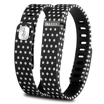 Zodaca 3D TPU Wristband Replacement Large Bracelet Wireless Activity Tracker Clasp for Fitbit Flex Black Polka dot 2127070