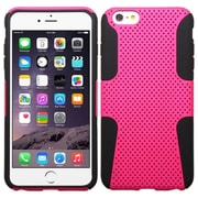"Insten Mesh Hard Dual Layer Plastic Silicone Cover Case For Apple iPhone 6 Plus 5.5"" - Hot Pink/Black (1951625)"