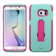 Insten Symbiosis Rubber Dual Layer Hard Cover Case w/stand For Samsung Galaxy S6 Edge - Teal Green/Hot Pink (2107710)