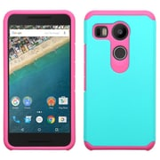 Insten Hard Hybrid Rugged Shockproof Rubberized Silicone Cover Case For LG Google Nexus 5X - Teal/Hot Pink (2166846)