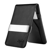 Zodaca Mens Faux Genuine Leather Silver Money Clip Slim Wallets ID Credit Card Holder- Black (1885898)