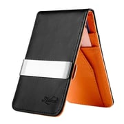 Zodaca Mens Faux Genuine Leather Silver Money Clip Wallets ID Credit Card Holder - Black/Orange (1885899)