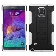 Insten Hard Dual Layer Rubber Silicone Case w/stand For Samsung Galaxy Note 4 - Black/White (1999423)