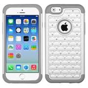 Insten Hard Hybrid Silicone Case w/Diamond For Apple iPhone 6 - White/Gray (2050506)