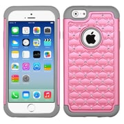 Insten Hard Dual Layer Rubber Silicone Case w/Diamond For Apple iPhone 6 - Pink/Gray (2050507)