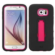 Insten Symbiosis Silicone Dual Layer Rubber Hard Cover Case w/stand For Samsung Galaxy S6 - Black/Red (2091757)