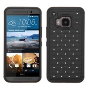 Insten Hard Hybrid Rugged Shockproof Rubber Silicone Case w/Diamond For HTC One M9 - Black (2101358)