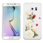 Insten Roses Hard Rubber Coated Case For Samsung Galaxy S6 Edge - White/Red (2118961)