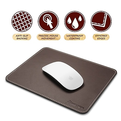 Insten Brown Leather Mouse Pad with Anti-Slip Rubber Base Waterproof Coating (7 x 8.7) for Laptop PC Computer Gaming (2208922)
