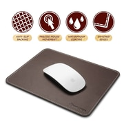 "Insten Brown Leather Mouse Pad with Anti-Slip Rubber Base Waterproof Coating (7 x 8.7"") for Laptop PC Computer Gaming (2208922)"