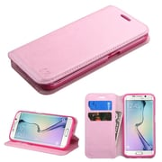 Insten Folio Leather Fabric Cover Case w/stand/card slot For Samsung Galaxy S6 Edge - Pink (2091737)