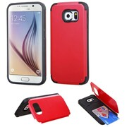 Insten Hard Silicone Cover Case w/card slot For Samsung Galaxy S6 - Red/Black (2101391)